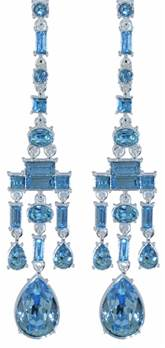 Chandelier Earrings Aqua - Silver Plated with Swarovski elements 80mm x 15mm x 8mm