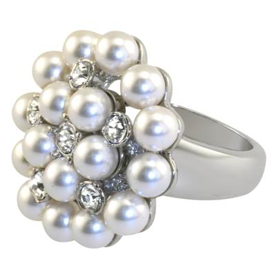 Duchess Of Windsor Pearl And Diamond Ring - Reproduction in Faux Pearl and Swarovski Elements