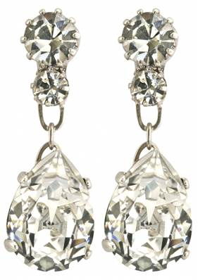 Queen Victoria's Collet Earrings - Silver Plated with Swarovski Elements