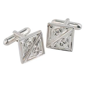 Square Celtic cufflinks in stering silver with a swivel fitting