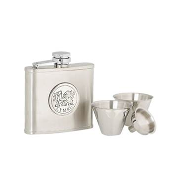 Stainless Steel 4oz Hip Flask with Cwmyru Pattern in presentation box with Cups and Funnel