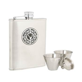 Stainless Steel 6oz Hip Flask with Thistle/Stag Pattern in presentation box with Cups and Funnel