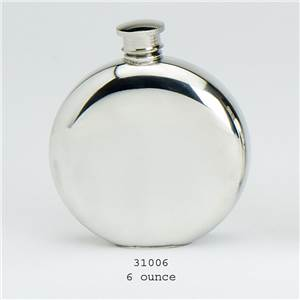 Pewter Flask 6oz Plain Round with Flattened Base - EBP-31006 by Edwin Blyde.