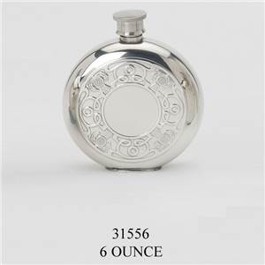 Pewter Flask 6oz Round with Celtic Thistle Design - EBP-31556 by Edwin Blyde.