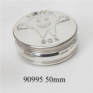 Pewter Childrens Box, 50mm Tooth Trinket Box - EBP-90995 by Edwin Blyde.