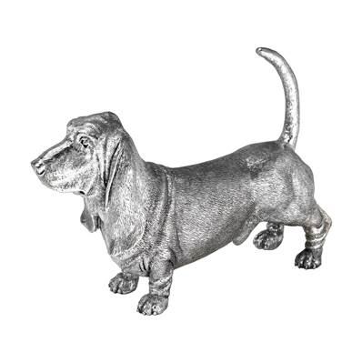 "Basset Hound Model in Sterling Silver - 5"" high"