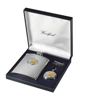 Matching Stainless Steel Hip Flask and Chrome Plated Pocket Watch Set - Shamrock Design