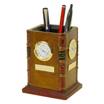 Tan Time Zone Clock in a Faux Book Pencil / Pen Holder