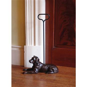 Large Labrador Bronzed Doorstop with handle