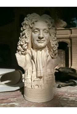 Sir Christopher Wren - Miniature Bust - Hand crafted in Gypsum Plaster in the UK