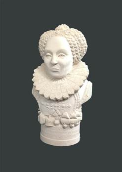 Bust of Queen Elizabeth 1st - Hand crafted in Gypsum Plaster in the UK