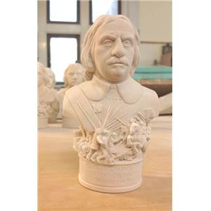 Bust of Oliver Cromwell - Hand crafted in Gypsum Plaster in the UK