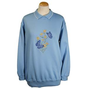 Ladies embroidered Blue Butterfly sweatshirt with contrasting knitted collar.