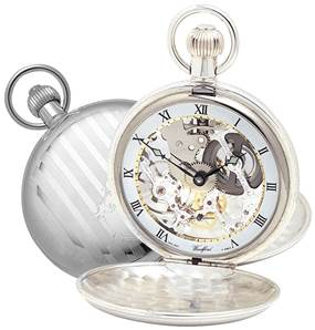 Woodford Swiss-Made Skeleton Pocket Watch, Twin-Lidded Solid Sterling Silver with Albert 1065,