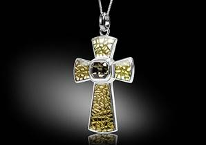 Cross- necklace gold enamel without necklace
