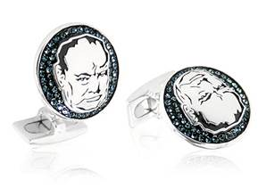 Winston Churchill Sterling Silver & Crystal Cufflinks