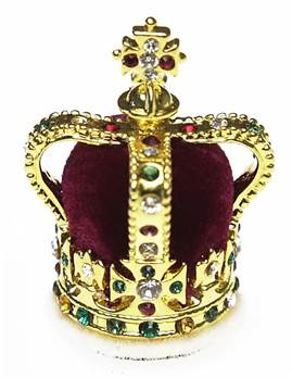 St Edwards Crown (1661) - 28001 - Miniature Replica Crown with Crystals on Silver Plated Body
