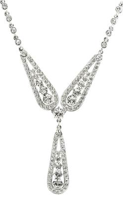 Queen Mary Three Arch Necklace - Silver Plated with Swarovski Elements