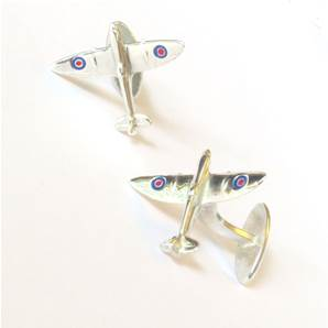 Spitfire Cufflinks in Sterling Silver with Enamel Roundels - Fixed backs