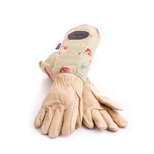 Floral English Leather & Linen Gardening Gloves