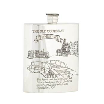 Hip Flask Pewter 6oz Rectangular featuring The Old Course at St Andrews - card of the course on back
