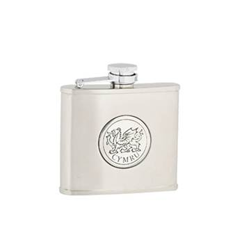 "Hip Flask - Stainless Steel with ""Captive Top"" in Cymru Pattern"