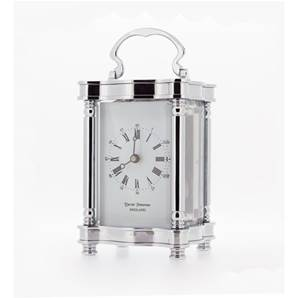 Doucine 8 day Mechanical Carriage Clock with Strike Movement - Chrome  by David Peterson Y/DP/DC/SK