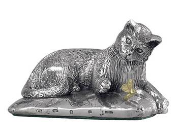 Sterling Silver Cat on a Cushion Model HBH-8162