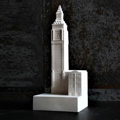 Big Ben - Small Plaster Model of the Palace of Westminster Clock Tower - Hand made in Gypsum in UK
