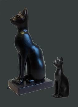 Egyptian Cats - Black - Hand Made in Gypsum Plaster
