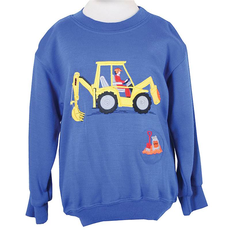 Digger sound effect sweatshirt - Royal Blue - 4-5 years