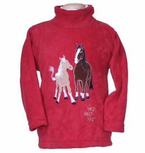 childrens embroidered dozy mares fleece tunic with a sewn in sound