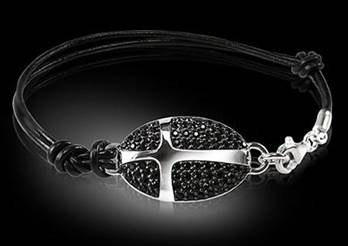 Pavee Cross Bracelet black with leather strap Sterling silver and chain