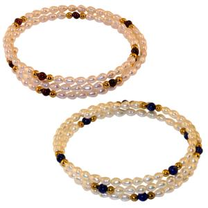 Pearl bracelet with gold plated beads