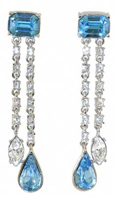 Durbar Aquamarine Earrings - Silver Plated with Swarovski Elements