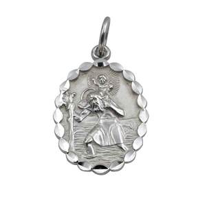 Oval St Christopher's Pendant in Sterling Silver