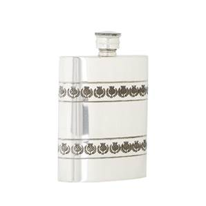 Pewter Hip Flask - 4oz Rectangular with 2 x embossed Thistle Bands - by Sgian Dubhs
