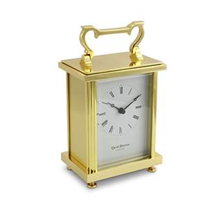 Heavy Flat Brass Carriage Clock with Quartz Movement - Q/FB