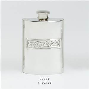Pewter Hip Flask 4oz Celtic Design Casting Imlay - EBP-30334 by Edwin Blyde.