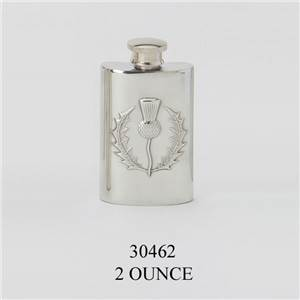 Pewter Hip Flask 2oz Thistle Design - EBP-30462 by Edwin Blyde.