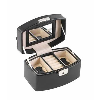 Leatherette Jewellery Case with Ring Section and Mirror in Lid