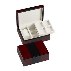 Dressing Table Box for Watch, Cufflinks & Accessories in Wood Veneer and Black - lockable