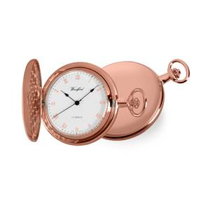Woodford Rose Gold Plated 17 Jewel Mechanical Full Hunter White Face Pocket Watch 1091