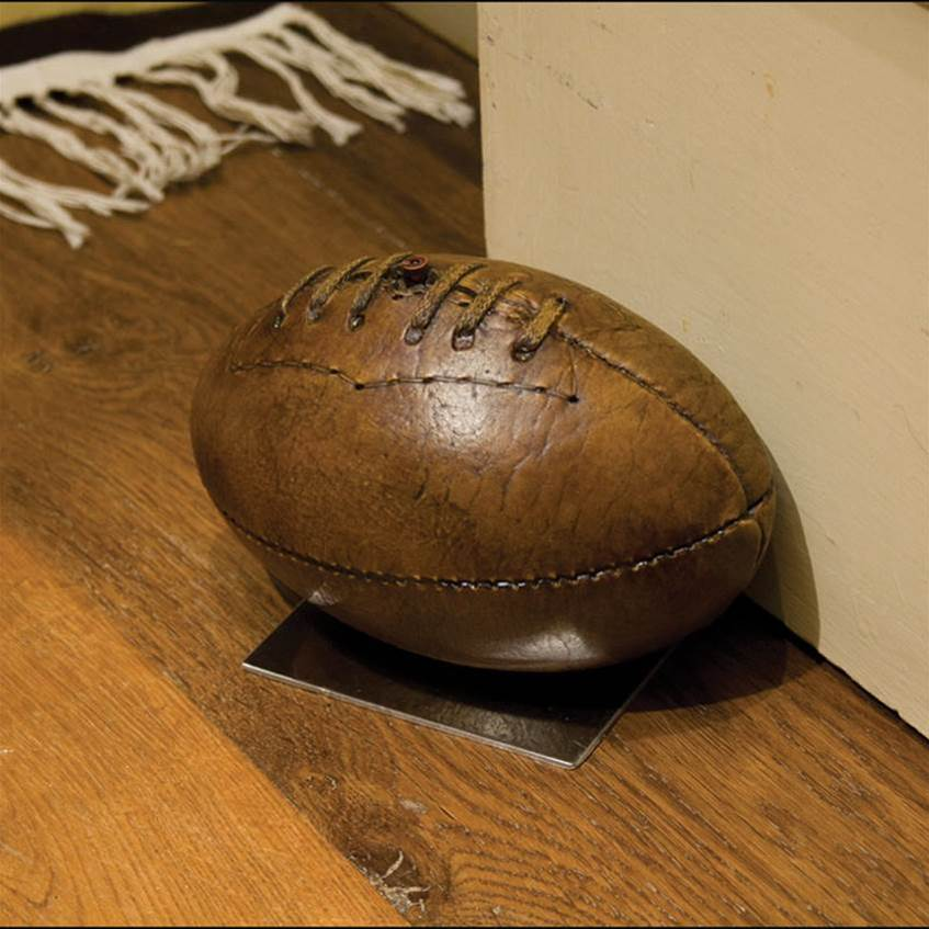 Old-fashioned Rugby Ball On Base Doorstop From Original
