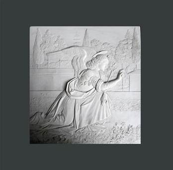 Angel Of The Annunciation Plaque - Hand Made in Gypsum Plaster in UK