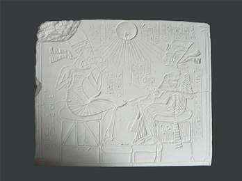 Akhenaten & Family Plaque - Hand Made in Gypsum Plaster