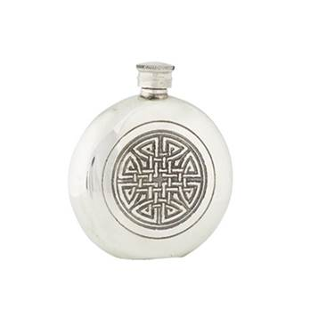 Pewter Hip Flask - 6oz Round featuring a Celtic Knot - by Sgian Dubhs