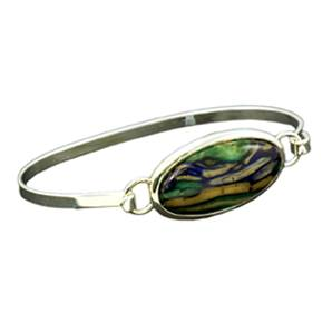 Silver Plated Spring Bangle with Unique Heathergem Stone - HBA17 - from Heathergems