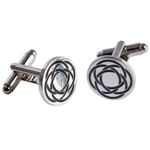 Roud Celtic Design Cufflinks in Polished Pewter with a swivel fitting