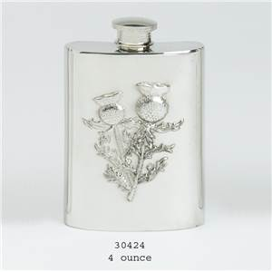 Pewter Hip Flask 4oz Stamped Thistle Scene - EBP-30424 by Edwin Blyde.